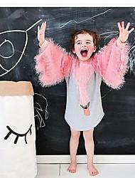 abordables -Robe Fille de Noël Anniversaire Motif Animal Cygne Coton Printemps Manches Longues Dessin Animé Rose Claire