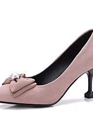 preiswerte -Damen Schuhe Kunstleder Frühling Herbst Komfort High Heels Stöckelabsatz Spitze Zehe Schleife für Kleid Party & Festivität Schwarz Rot