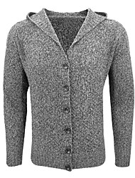 cheap -Men's Sports Going out Long Cardigan,Solid Print Hooded Long Sleeves Polyester Fall Winter Medium Micro-elastic
