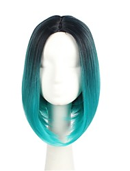 Kvinder Syntetiske parykker Kort Ret Sort/Grøn Natural Hairline Bob frisure Cosplay Paryk Lolita Paryk Festparyk Halloween Paryk Carnival