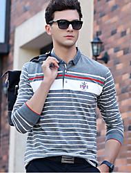 baratos -Homens Polo Listrado Algodão Colarinho de Camisa