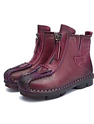 Недорогие -Жен. Обувь Кожа Осень / Зима Удобная обувь Ботинки На низком каблуке Круглый носок Ботинки Черный / Лиловый / Коричневый