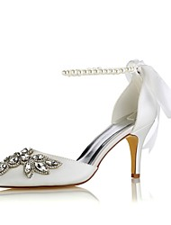 cheap -Women's Shoes Stretch Satin Spring Summer Basic Pump Wedding Shoes Stiletto Heel Pointed Toe Crystal for Party & Evening Dress Ivory