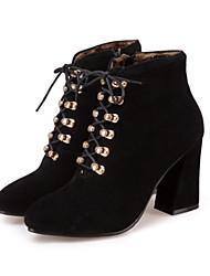 Недорогие -Жен. Обувь Нубук Зима Осень Удобная обувь Оригинальная обувь Армейские ботинки Ботинки На толстом каблуке Заостренный носок Круглый носок