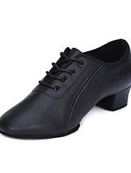 preiswerte -Herrn Schuhe für den lateinamerikanischen Tanz Leder Absätze Niedriger Heel Tanzschuhe Schwarz / Innen