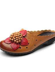 Недорогие -Жен. Обувь Полиуретан Весна Удобная обувь Башмаки и босоножки На плоской подошве Черный / Желтый / Красный