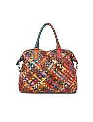 preiswerte -Damen Taschen Leder Tragetasche Knöpfe Stickerei Regenbogen