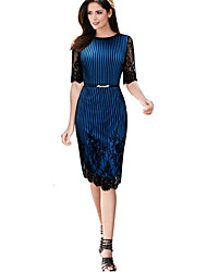 cheap -Women's Party Work Vintage Sheath Dress,Striped Print Round Neck Knee-length Half Sleeve Polyester Elastane All Season Mid Rise