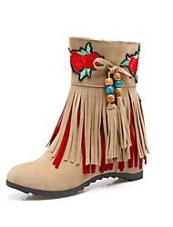 baratos -Mulheres Sapatos Materiais Customizados Flanelado Inverno Inovador Botas Plataforma Ponta Redonda para Social Preto Bege Vermelho
