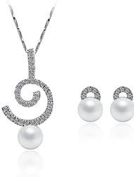preiswerte -Damen versilbert Schmuck-Set 1 Halskette / Ohrringe - Einfach / Modisch Silber Schmuckset / Braut-Schmuck-Sets Für Hochzeit / Alltag