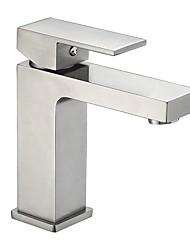 Недорогие -Современный По центру Широко распространенный Керамический клапан Одной ручкой одно отверстие Матовый никель, Ванная раковина кран