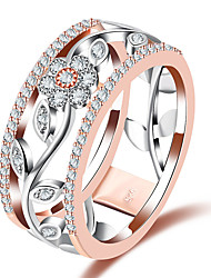 cheap -Women's Band Rings Synthetic Diamond Formal Fashion European Copper Glass Circle Geometric Flower Jewelry Wedding Party