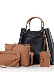baratos -Mulheres Bolsas PU Conjuntos de saco Conjunto de bolsa de 4 pcs Ziper Preto / Vermelho / Verde Escuro