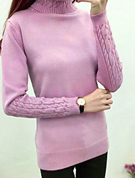 Women's Daily Casual Short Pullover,Solid Turtleneck Long Sleeve Cotton Winter Autumn Medium strenchy