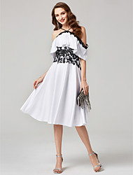 cheap -A-Line Halter Knee Length Chiffon Lace Cocktail Party Dress with Lace Pleats by TS Couture®