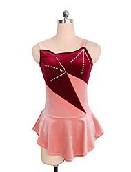 abordables -Robe de Patinage Artistique Femme / Fille Patinage Robes Rouge Spandex Non Elastique Utilisation / Exercice Tenue de Patinage Couleur