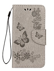 Недорогие -Кейс для Назначение Huawei P8 Lite (2017) P10 Lite Бумажник для карт Кошелек со стендом Флип Рельефный Чехол Бабочка Твердый Кожа PU для
