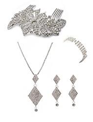 cheap -Women's Rhinestone Imitation Diamond Jewelry Set Body Jewelry 1 Necklace 1 Ring Earrings - Fashion European Geometric Hair Combs Bridal