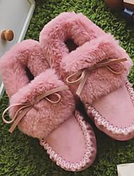 Feminino Sapatos Couro Ecológico Inverno Outono Conforto Botas de Neve Botas Sem Salto Botas Curtas / Ankle para Casual Preto Cinzento