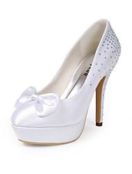 preiswerte -Damen Schuhe Seide Frühling Sommer Pumps Hochzeit Schuhe Stöckelabsatz Geschlossene Spitze Strass Schleife für Hochzeit Party & Festivität