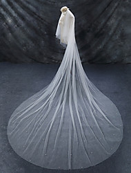 cheap -Two-tier Chapel Train Cut Edge Imitation Pearl Wedding Veil Cathedral Veils 53 Faux Pearl Tulle