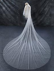 abordables -2 capas Capilla Corte de borde Perla Artificial Velos de Boda Catedral Con Perlado Artificial Tul