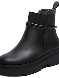cheap -Women's Shoes PU Winter Fashion Boots Bootie Boots Platform Round Toe Booties/Ankle Boots for Casual Office & Career Black