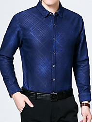 cheap -Men's Casual/Daily Vintage Shirt,Plaid Shirt Collar Long Sleeve Polyester