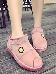 Damer Sko Polyamid Tekstil Forår Efterår Snestøvler Fluff Foder Støvler Fald Ankelstøvler for Afslappet Sort Grå Kaffe Lys pink Kakifarvet