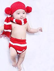bebê Unissex Conjunto Diário Listrado Todas as Estações Algodão Sem Manga Simples Vermelho
