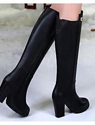 Feminino Sapatos Pele Inverno Outono Conforto Botas da Moda Botas Salto Robusto Botas Cano Alto para Casual Preto