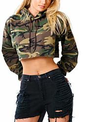 abordables -Sweat à capuche Femme Décontracté / Quotidien Chic de Rue camouflage Capuche Micro-élastique Polyester Manches longues Hiver Automne