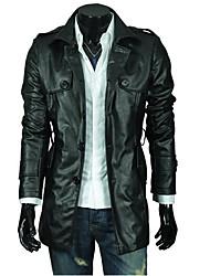 Veste de cuir Homme,Couleur Pleine Sortie simple Hiver Automne Manches longues Col de Chemise Normal Simili Cuir énorme