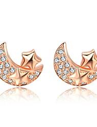 cheap -Women's Stud Earrings Cubic Zirconia Lovely Korean Silver Zircon Moon Star Jewelry Evening Party Prom