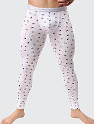 abordables -Hombre Microelástico Estampado Cuadrícula Medio Long Johns,Algodón Poliéster 1pc Blanco Negro Gris Gris Claro