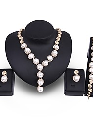 cheap -Women's Jewelry Set Imitation Pearl Gold Plated Alloy Circle Oversized Statement Jewelry Wedding Party 1 Necklace 1 Bracelet 1 Ring