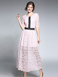 cheap -Women's Daily Casual Lace Dress,Solid Color Block Round Neck Maxi Half Sleeve Polyester Spring Summer Mid Rise Inelastic Thin