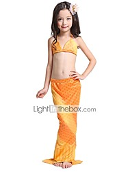 baratos -The Little Mermaid Saia Bikini Roupa de Banho Crianças Natal Baile de Máscaras Festival / Celebração Trajes da Noite das Bruxas Amarelo