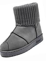 Feminino Sapatos Couro Ecológico Inverno Botas de Neve Botas Sem Salto Ponta Redonda Botas Cano Médio para Casual Preto Cinzento Verde