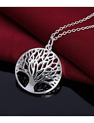 cheap -Men's Women's Tree of Life Simple Fashion Pendant Necklace , Silver Plated Pendant Necklace , Birthday Daily