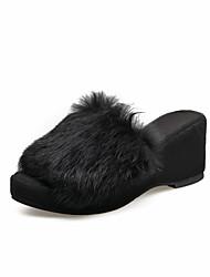 preiswerte -Damen Schuhe Lackleder Komfort Slouch Stiefel Sandalen Walking Keilabsatz Offene Spitze Paillette für Normal Schwarz Beige Rot