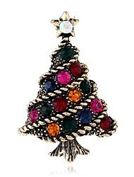 abordables -Femme Broche Strass Bohème Basique Européen Alliage Arbre de la vie Or Argent Bijoux Pour Noël