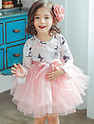 cheap -Girl's Daily Going out Floral Patchwork Dress,Rayon Polyester Spring Fall Long Sleeves Street chic Princess Blushing Pink Gray
