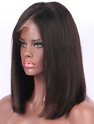 cheap -Unprocessed Human Hair / Remy Human Hair Lace Front Wig Wig Brazilian Hair Straight Bob Haircut / Short Bob / Middle Part 130% Density With Baby Hair / Natural Hairline / Middle Part Natural Women's