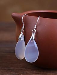 cheap -Women's Drop Earrings Hoop Earrings Onyx Silver Agate Jewelry Wedding Daily