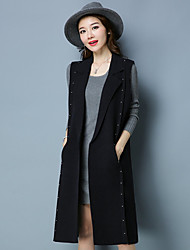 cheap -Women's Casual/Daily Simple Winter Fall Vest,Solid V Neck Sleeveless Long Polyester