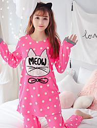 Feminino Conjunto Pijamas,Estampado Estampado Algodão Fúcsia