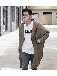 cheap -Men's Going out Casual/Daily Simple Spring Fall Trench Coat,Solid Hooded Long Sleeve Long Polyester