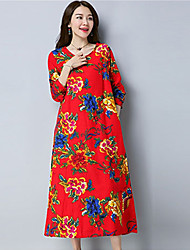 Women's Daily Going out Tunic Dress,Floral Round Neck Knee-length Long Sleeves Cotton Spring Summer Mid Rise Inelastic Medium