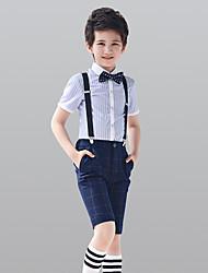 abordables -Blanc Marine foncé 100% Coton Costume de Porteur d'Alliance - 4 Comprend Chemise Pantalon Bretelles Noeud Papillon